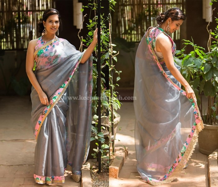 Plain Sarees With Floral Border