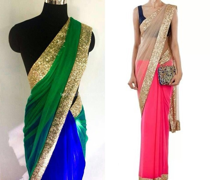 Plain Sarees With Glitter Border