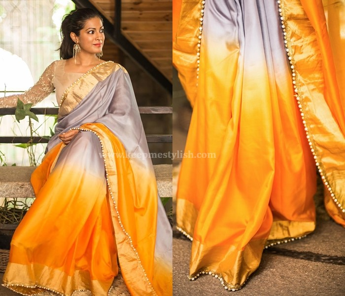 Plain Sarees With Hand Work Beads Border
