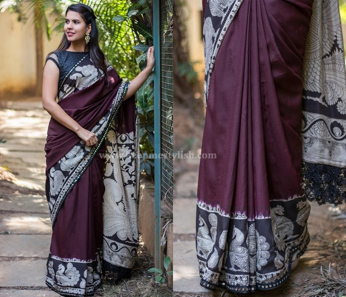 Plain Sarees With Kalamkari Border