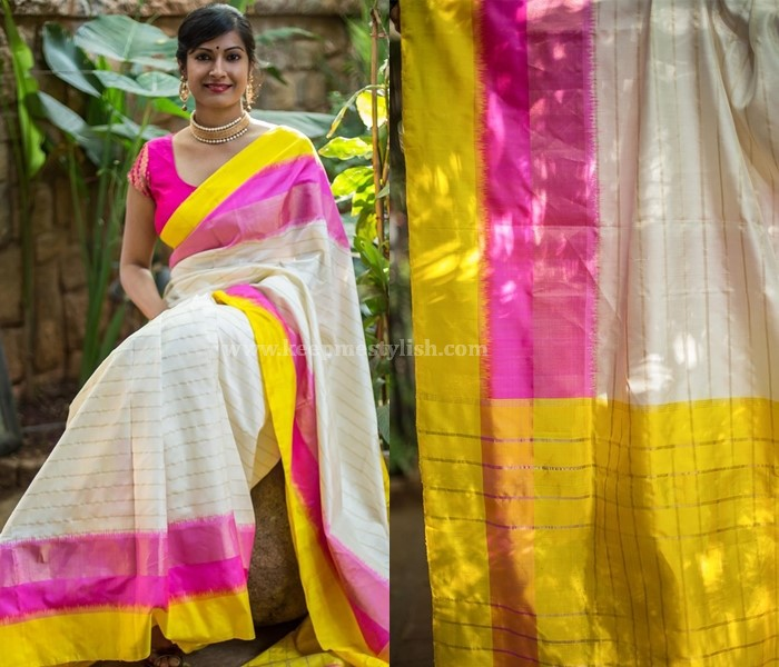 Plain Sarees With Neon Border