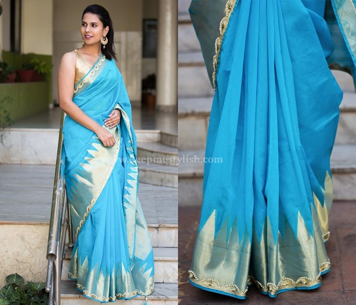 Plain Sarees With Pearl Border