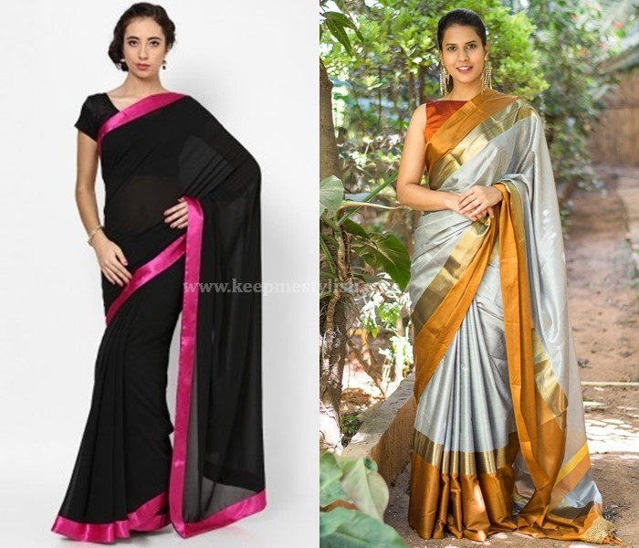 Plain Sarees With Satin Border