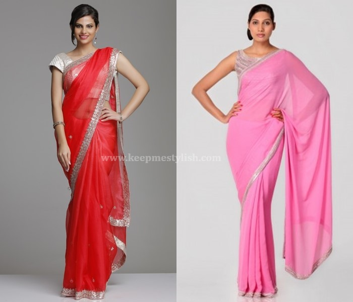 Plain Sarees With Silver Border