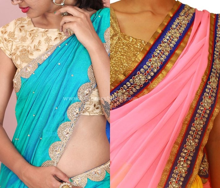 Plain Sarees With Stone Work Border