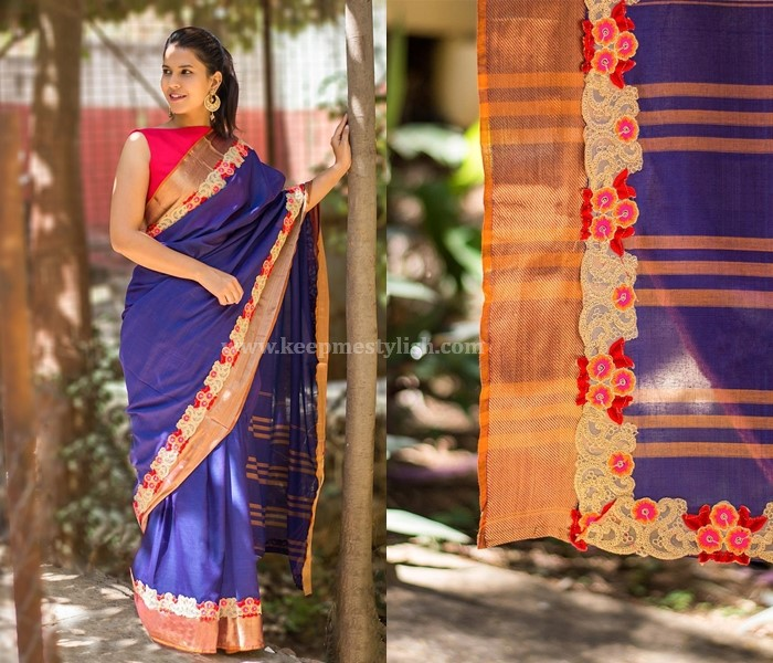 Plain Sarees With Thread Work Border