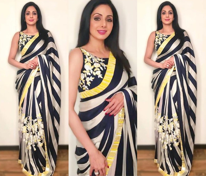 celebrity sridevi black and white stripe saree