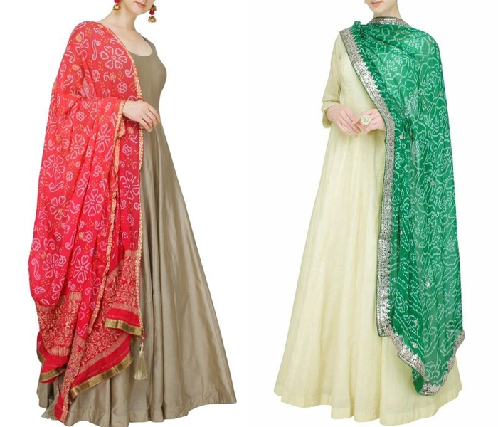 Simple plain indian suit with heavy dupatta