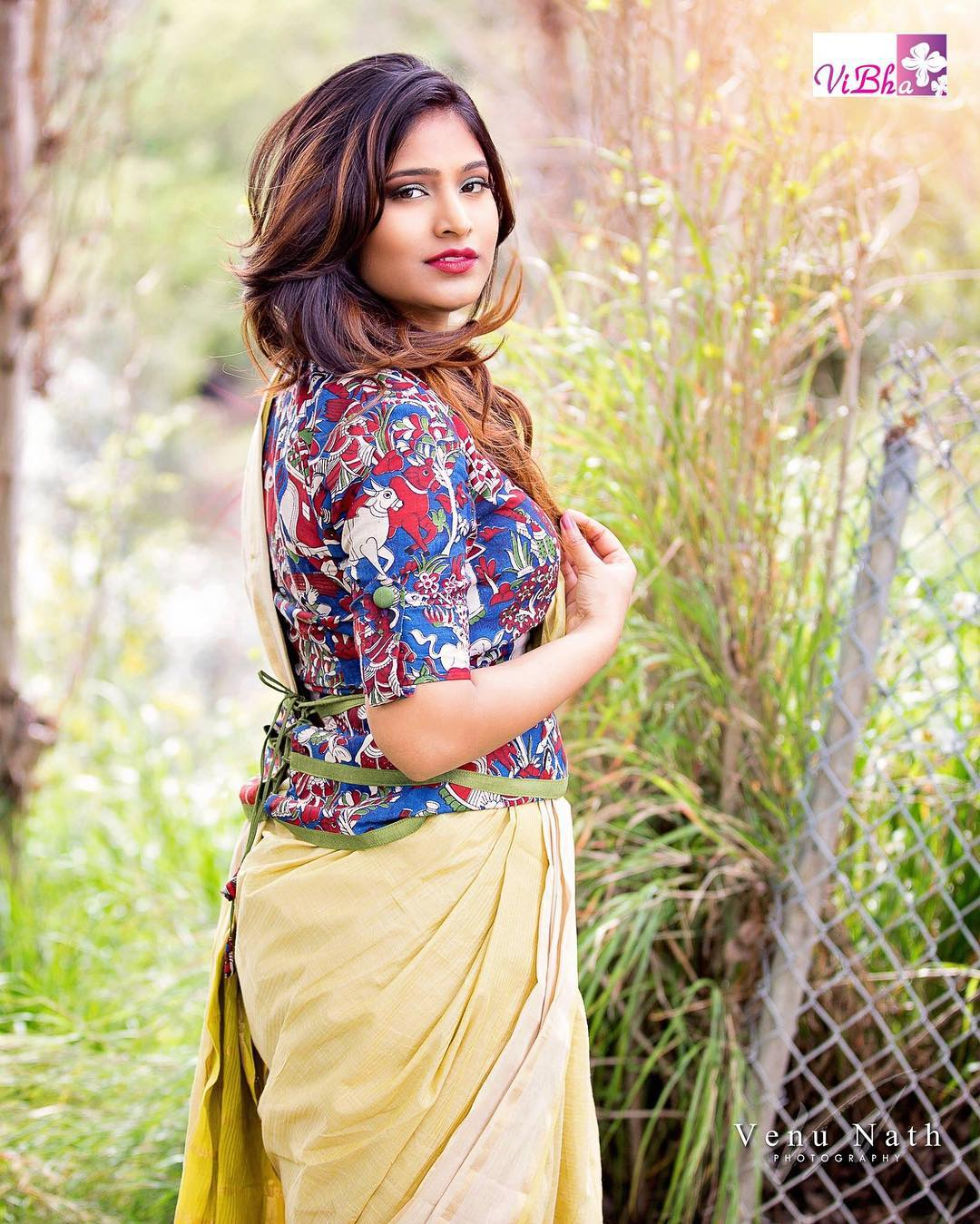 Cotton Saree with Kalamkari Blouse