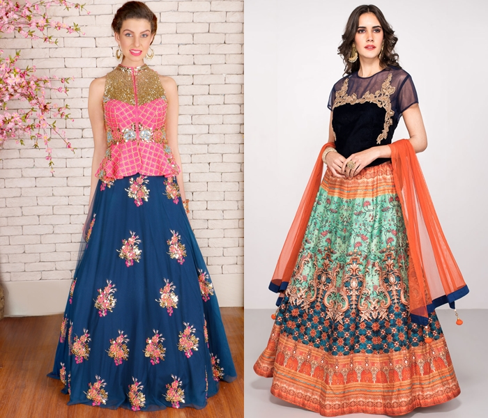 Long Blouse Designs For Lehenga