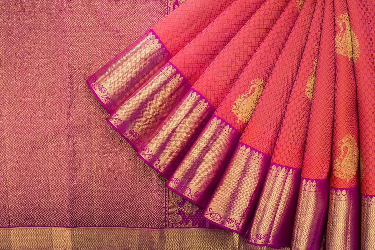 Peach Kanjivaram Silk Saree
