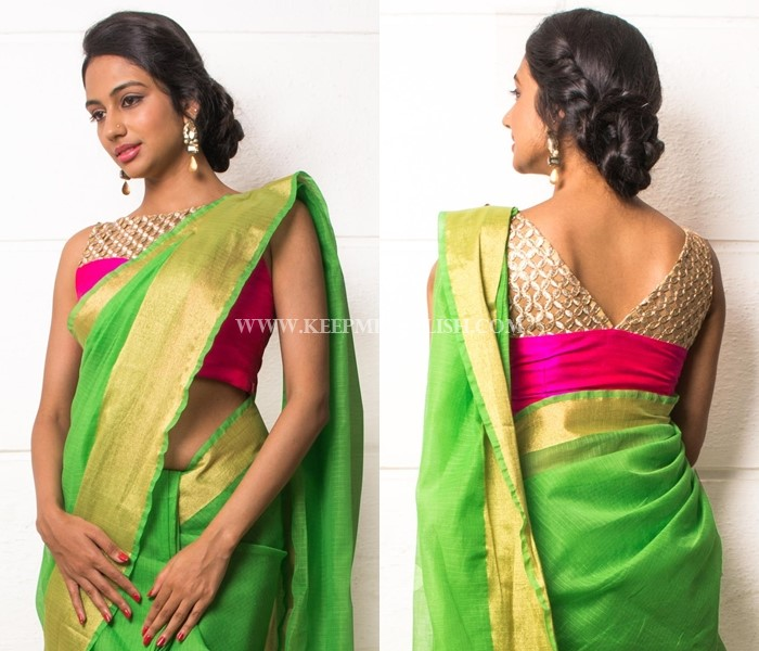 2131ff6d057e98 Plain Sarees With Designer Blouse - 40+ Creative Ideas • Keep Me Stylish