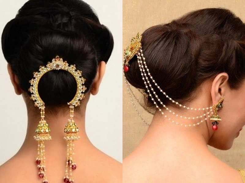 Hair buns with hair accessories