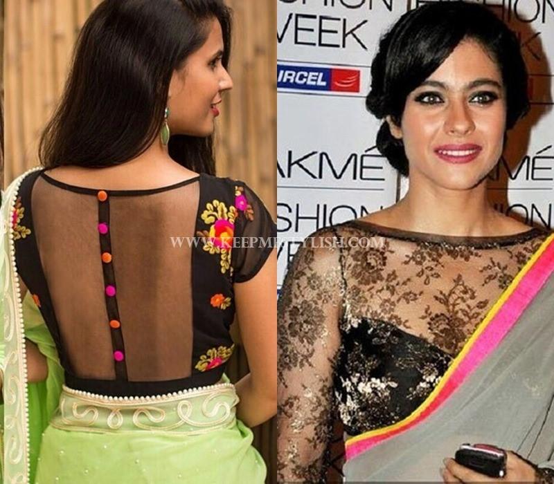 net sleeve saree jacket designs