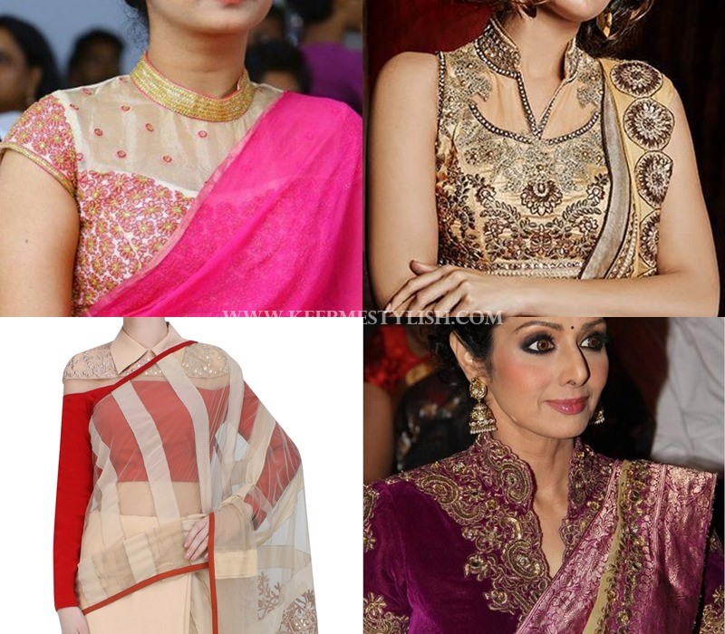 collar neck saree jacket pattern