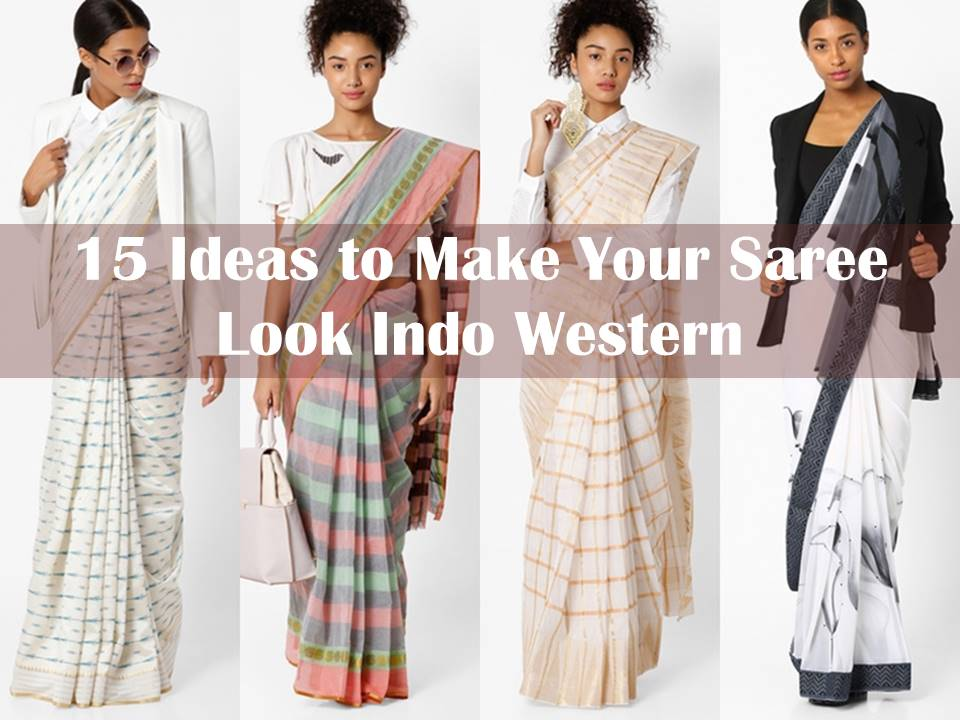 Indo Western Saree Draping And Blouse Designs