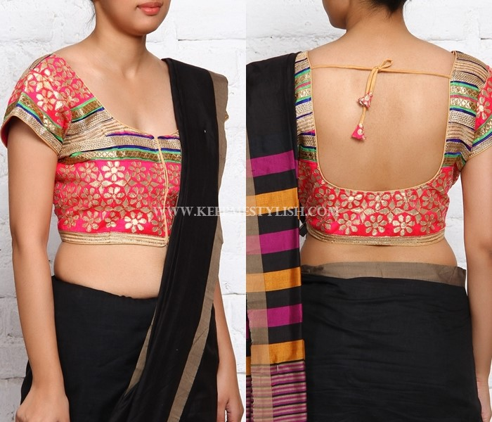 Black Saree With Brocade Blouse Design