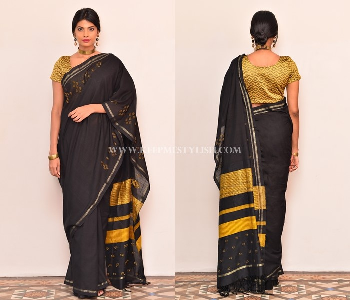 Black Saree With Contrasting Blouse Design