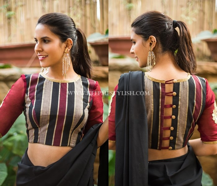 Black Saree With Designer Maroon Blouse