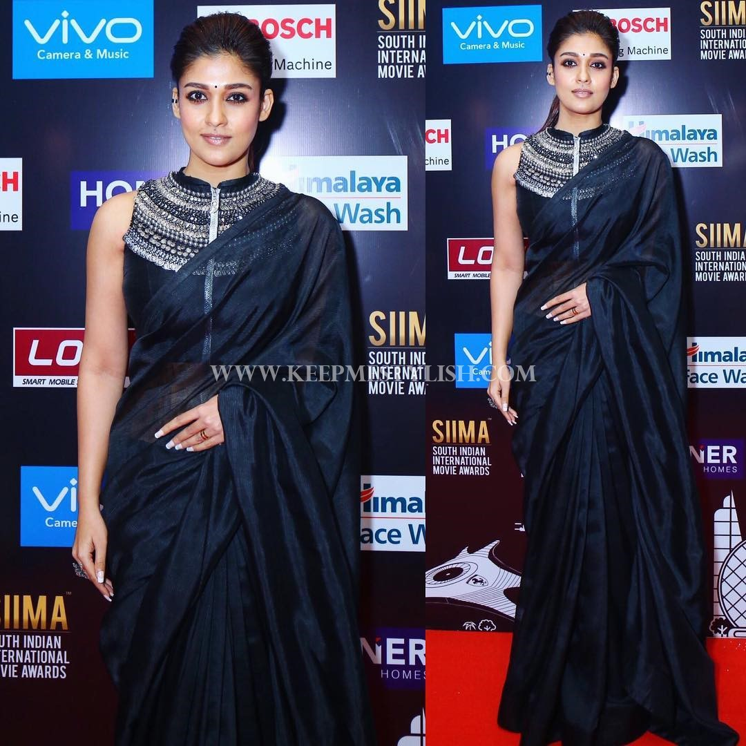 Black Saree With Embellished Blouse