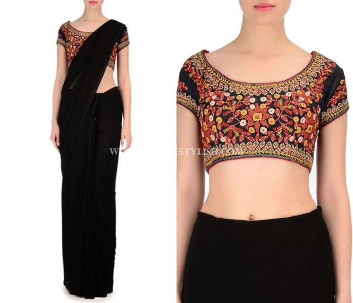Black Saree With Embroidery Blouse