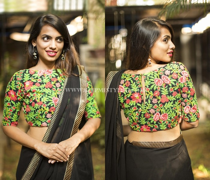 Black Saree With Embroidery blouse design