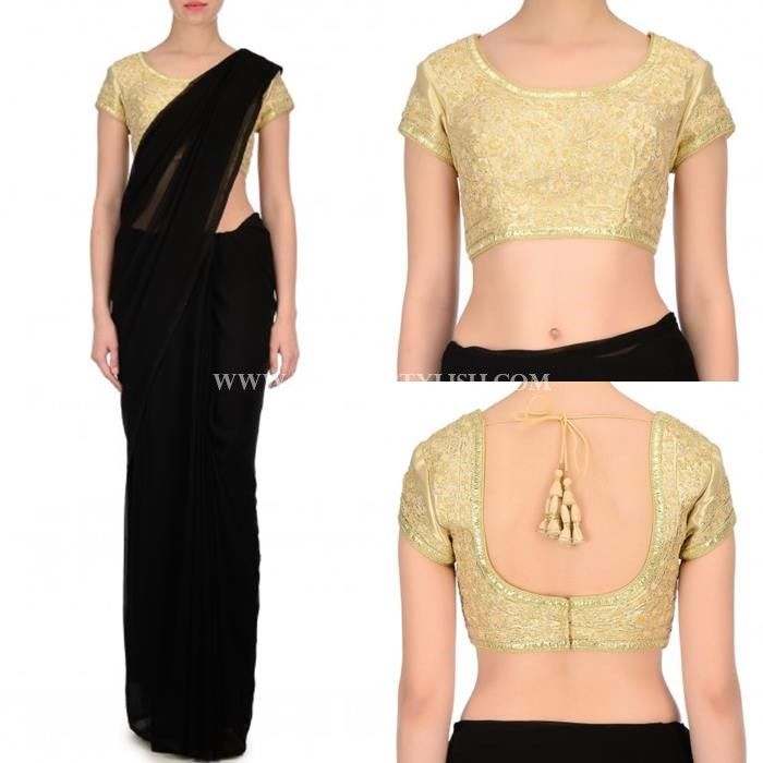 Black Saree With Gold Blouse
