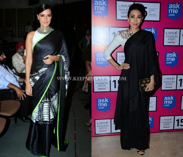 black saree with white blouse