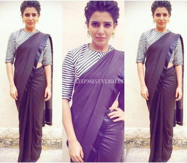 black saree with stripe blouse