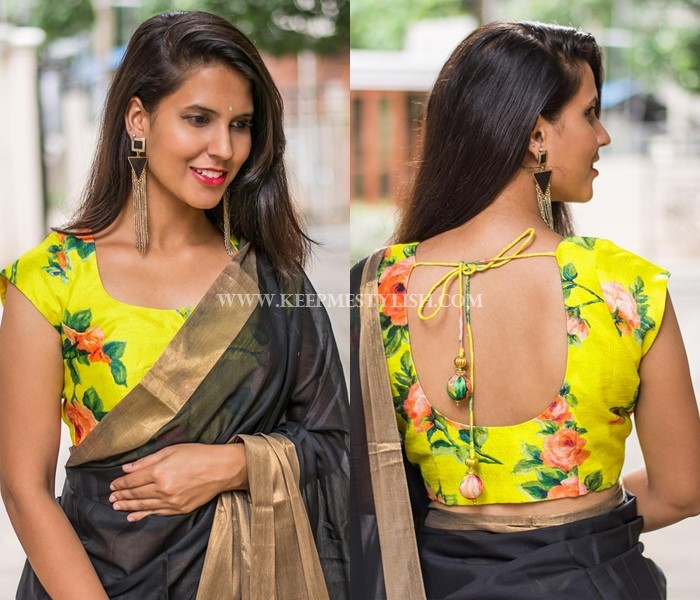 black saree with yellow blouse