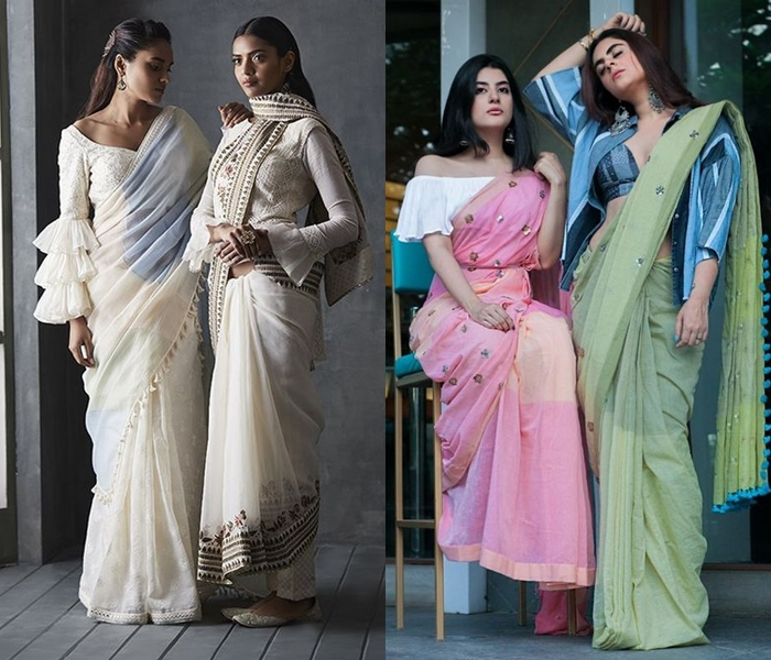 Indo Western Saree And Blouse Designs