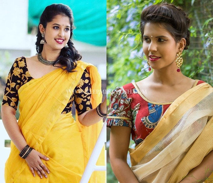 Plain Sarees With Contrasting Blouses