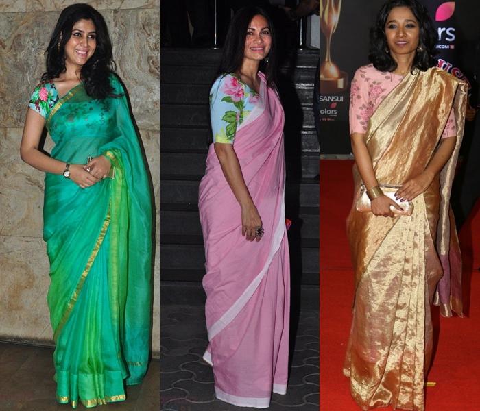 plain sarees with floral blouse designs