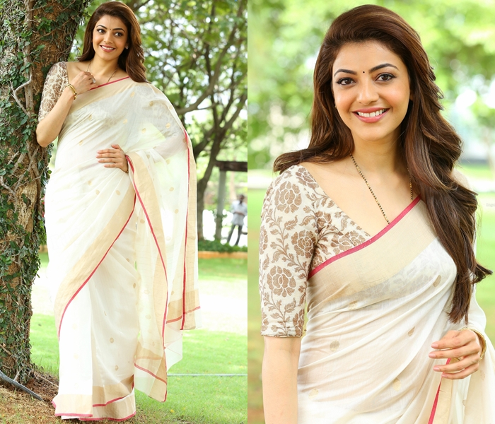 Kajal Agarwal Saree at Nene Raja Nene Manthiri