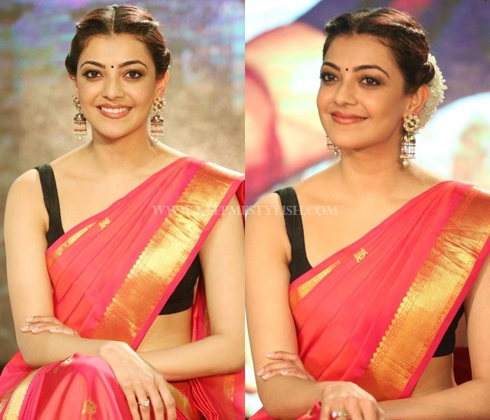 Kajal Agarwal Simple Silk Saree And Sleeveless Blouse