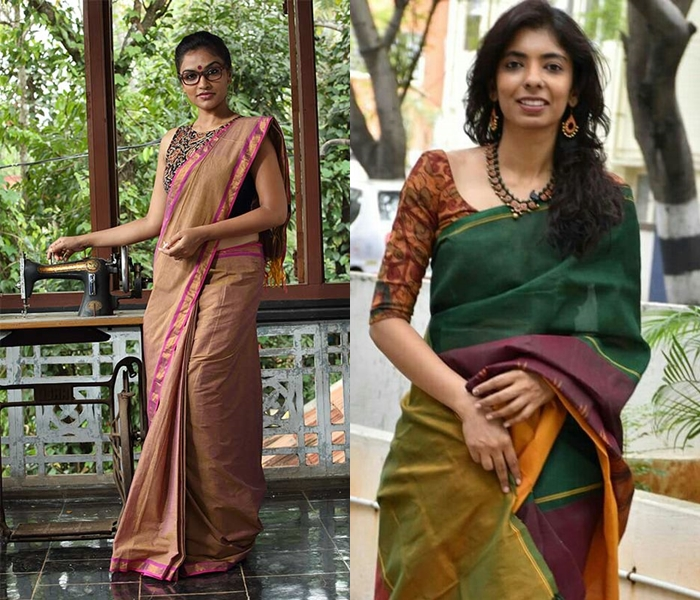 Kalamkari Blouse With Plain Sarees