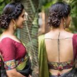How to Wear Artistic Kalamkari Blouse with Plain Sarees