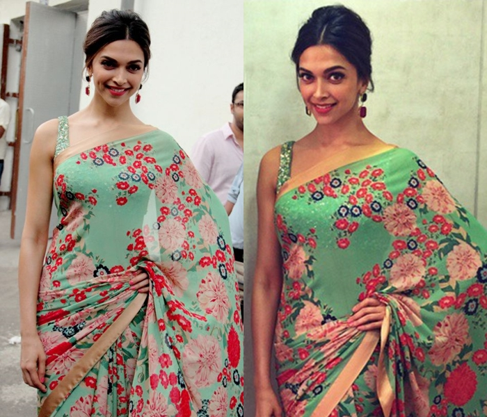 What lipstick shade to wear with green saree