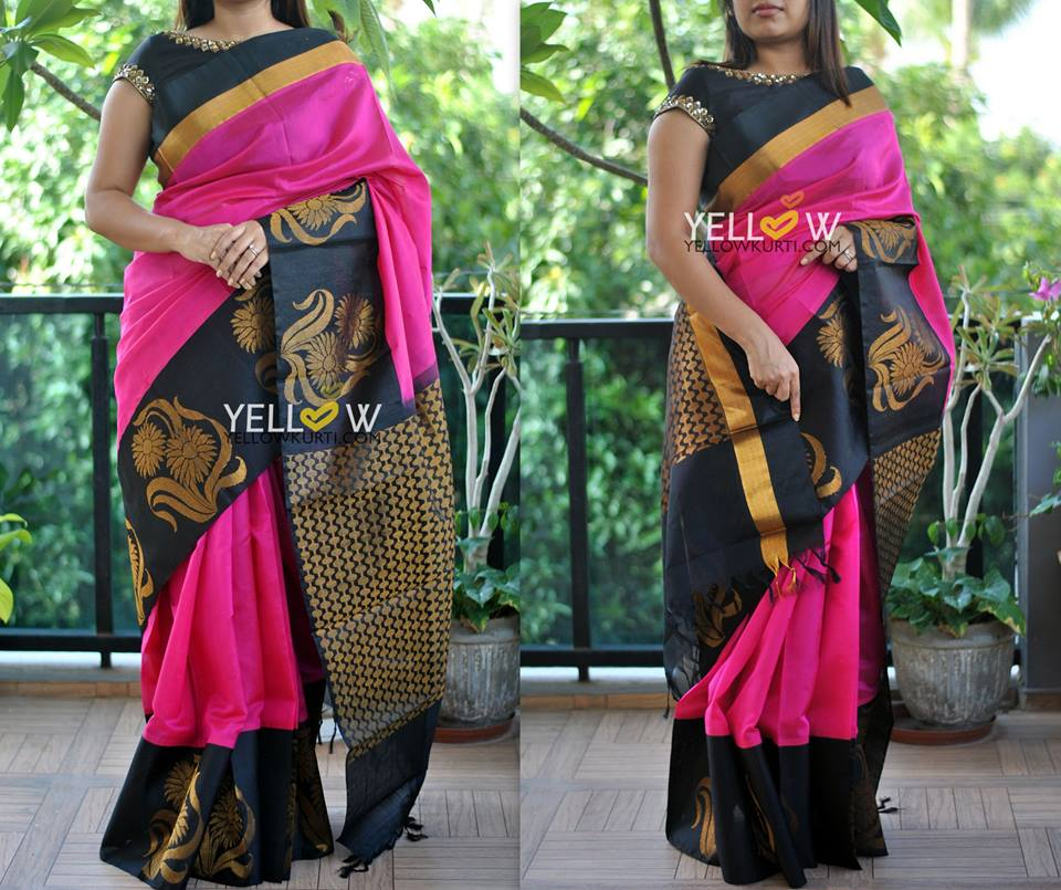 Black Silk Saree Designs