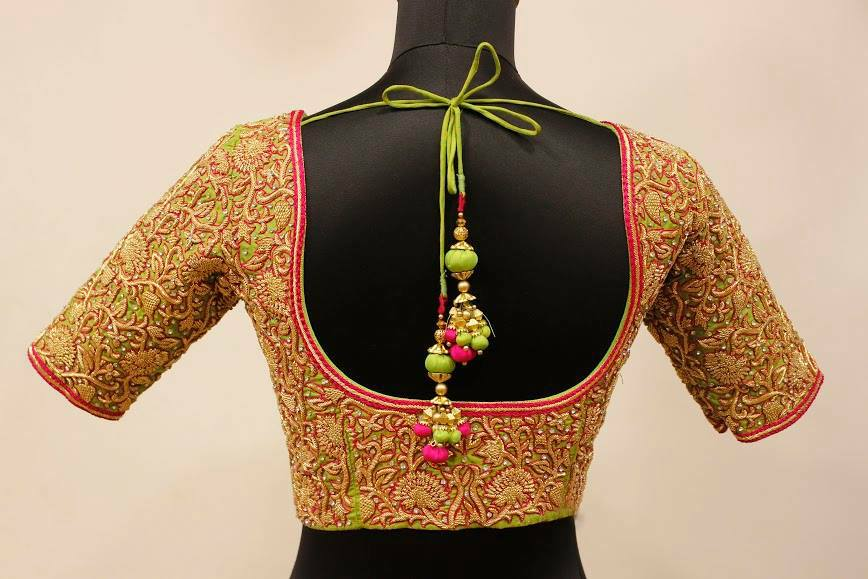 Designer Silk Saree Blouse Neck And Sleeve Designs
