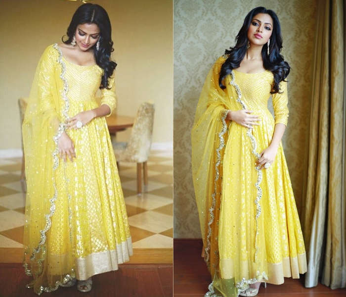 amala paul in yellow anarkali suit