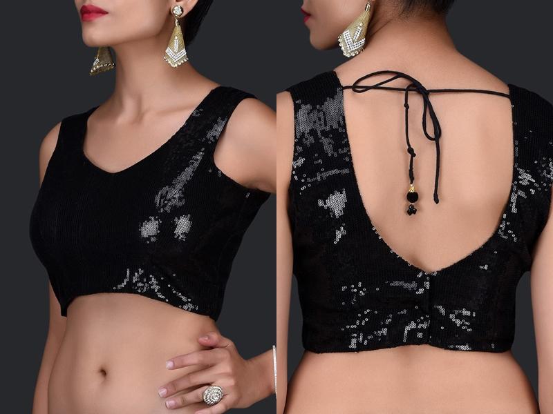 Black Blouse Designs For Sarees