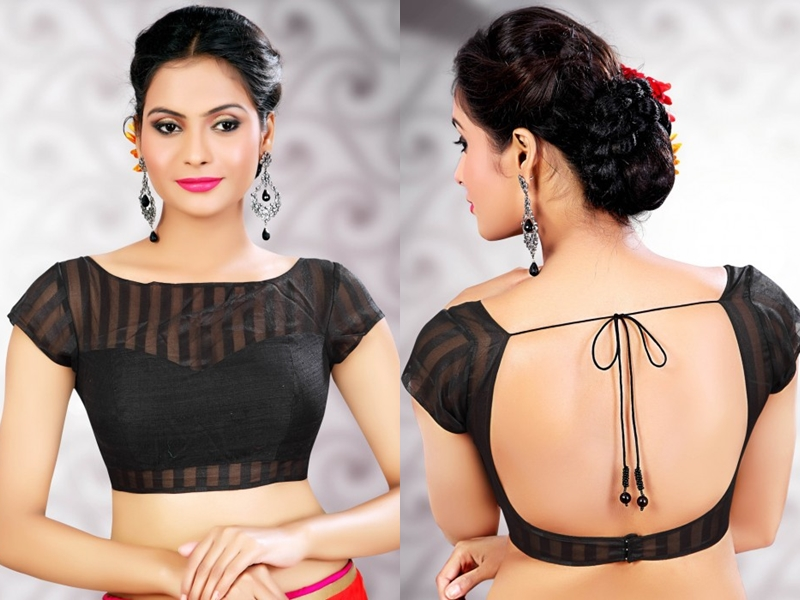 Black Blouse Designs For Sarees