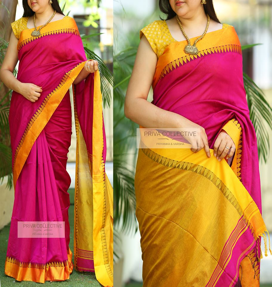 Contrasting Blouses for Pink Silk Sarees