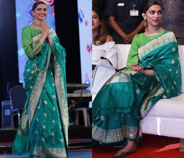 Deepika Padukone in Green Silk Saree