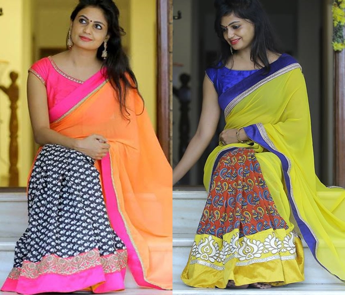 Half and half saree designs