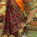 Orange Blouse Designs For Sarees