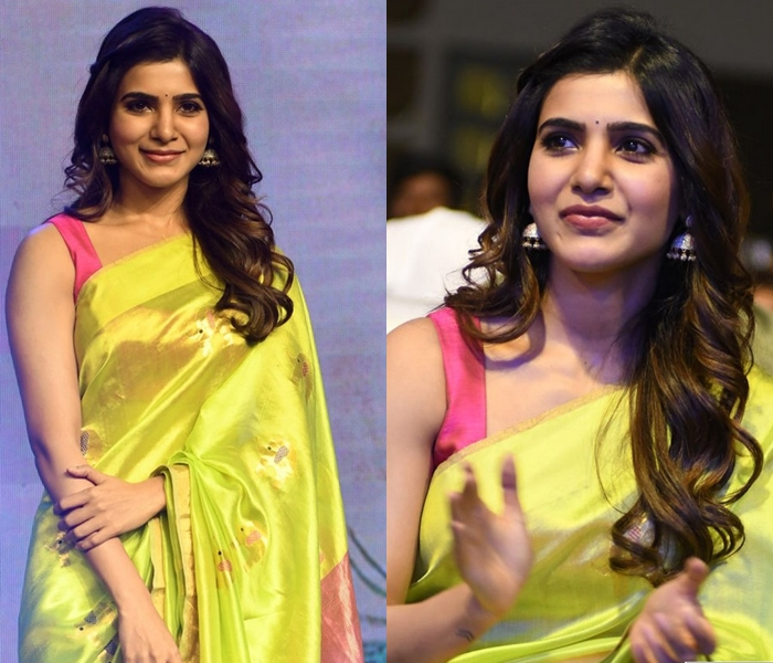 Samantha After Wedding in Lime Green Saree