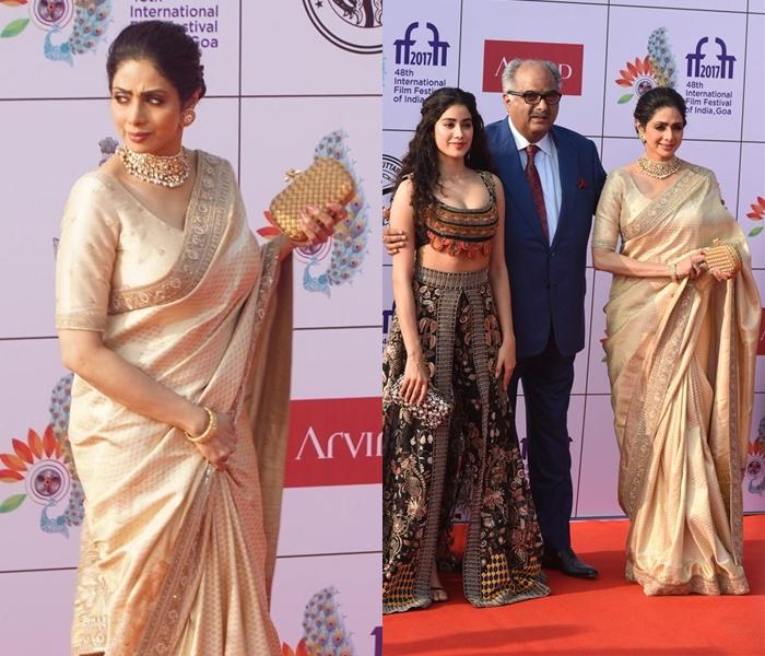 Sridevi Gold Saree Style