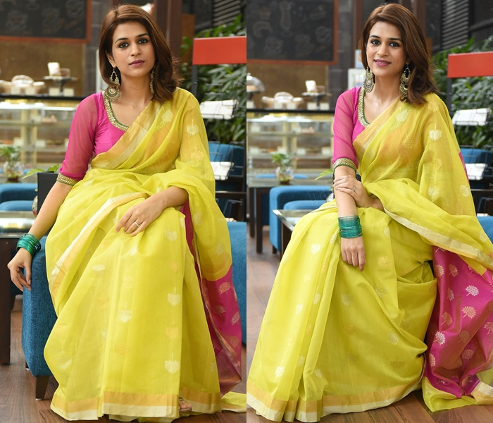 yellow saree with pink blouse